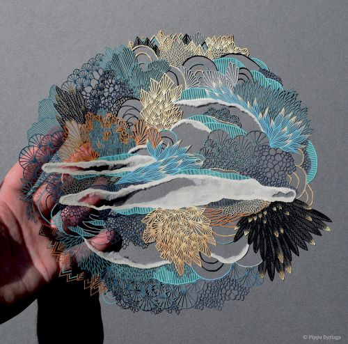Intricate Landscapes and Animals Cut From Single Sheet of Paper by Pippa Dyrlaga