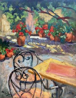 "New ""Peaceful Courtyard"" Oil Painting by Contemporary Impressionist Niki Gulley"