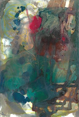 "Original Contemporary Abstract Mixed Media, Alcohol Ink Painting ""FLOWERS BY THE WINDOW"" by Contemporary Artist Lou Jordan"