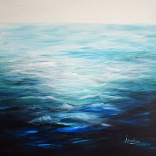 "Contemporary Abstract Seascape Painting ""In The Swim"" by International Contemporary Seascape Artist Arrachme"