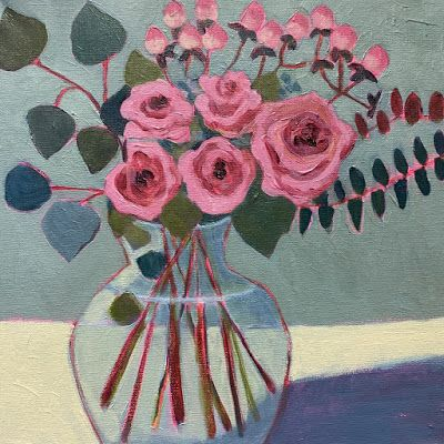 "Contemporary Bold Expressive Still Life Flower Art Painting, ""SWEETHEARTS "" by Santa Fe Artist Annie O'Brien Gonzales"