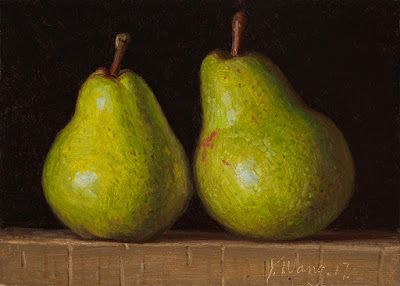 Two pears still life painting a day