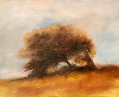"""Contemporary Impressionist Landscape Oil Painting """"Westerly Wind"""" by California Artist Cecelia Catherine Rappaport"""