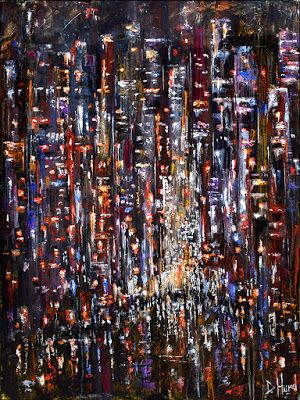 "Abstract New York City Cityscape Street Scene Painting Art ""The Apple at Night"" by Debra Hurd"