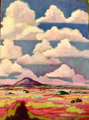 "New Mexico, Contemporary Abstract Bold Expressive Landscape Art Painting ""Pedernal With High Clouds"" by Santa Fe Artist Annie O'Brien Gonzales"