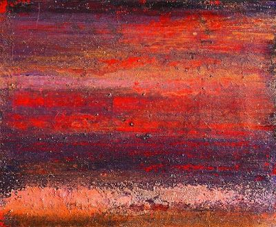 "Mixed Media Abstract Art Red Painting ""August Heat"" by California Artist Cecelia Catherine Rappaport"