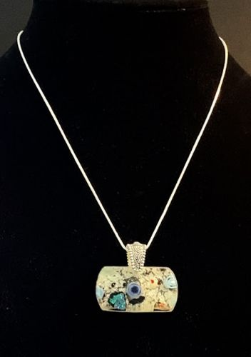"""Contemporary Jewelry, One of a Kind Glass Jewelry, Necklace """"GLASS CABOCHON NECKLACE"""" by Florida Contemporary Artist and Designer Mary Ann Ziegler"""