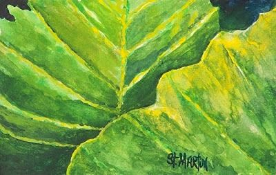 "Botanical Watercolor Painting,Green Leaf Art ""Pop of Green"" by Florida Impressionism Artist Annie St Martin"