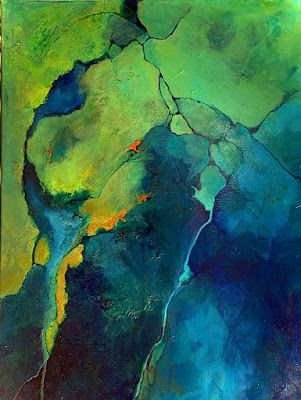 """Green Art, Geologic Abstract, Contemporary Mixed Media Painting """"Cool It"""" by Colorado Mixed Media Abstract Artist Carol Nelson"""