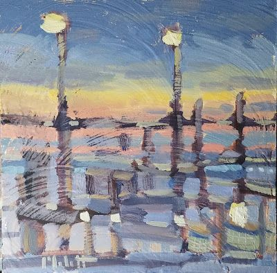 Contemporary Art Beach at Sunset Oil Painting