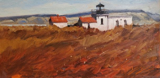 """""""Winter at the Point"""" Plein air painting by Robin Weiss"""