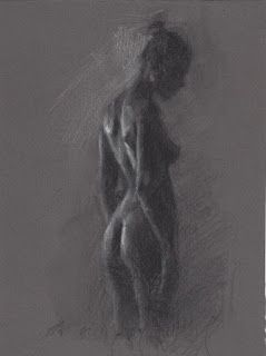 Side view female nude drawing on toned paper