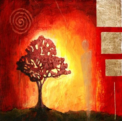 "Original Contemporary Abstract Landscape Painting Tree Art ""La Luz"" by Contemporary Arizona Artist Pat Stacy"