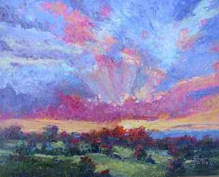 Circle of Color Sky, New Contemporary Landscape Painting by Sheri Jones