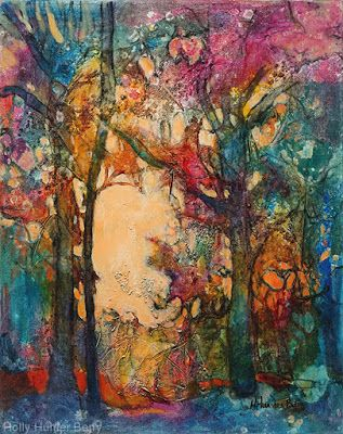 "Colorful Contemporary Landscape Painting, Trees, Pathway, Abstract Landscape, Tree, ""You Can Rest Now"" by Passionate Purposeful Painter Holly Hunter Berry"