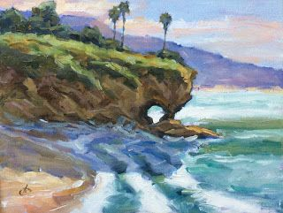KEYHOLE ROCK, LAGUNA BEACH PLEIN AIR by TOM BROWN