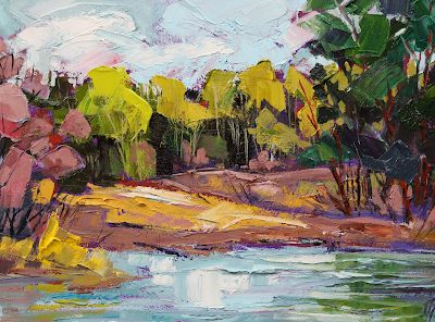 """Impressionist Landscape,Trees, Fine Art Oil Painting """"Rosy Tamarisk"""" by Colorado Contemporary Fine Artist Jody Ahrens"""