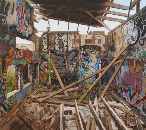 Crumbling Buildings and Graffiti-Covered Walls Are Meticulously Documented in Oil Paintings by Jessica Hess