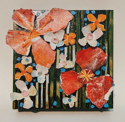 "SUMMER SALE, Floral Paper Sculpture ""PAPER FLOWERS AND STRIPES"" by Contemporary Expressionist Pamela Fowler Lordi"