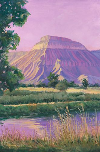 "Original Western Landscape Fine Art Painting ""MT GARFIELD"" by Colorado Artist Nancee Jean Busse, Painter of the American West"