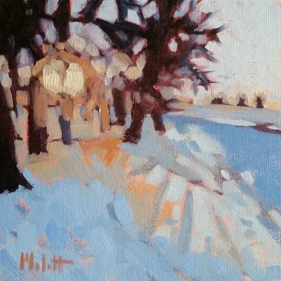 Winter Landscape 8x8 Snowy Sunset Original Oil Painting and Prints