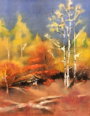 "Abstract Landscape Painting ""Kitty's Forest"" by Illinois Artist Marilyn Weisberg"