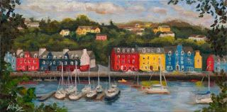 Colorful Scottish Harbor by Contemporary Impressionist Niki Gulley