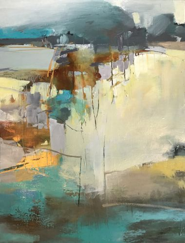 """Abstract Mixed Media Landscape Painting """"TOWARD THE HORIZON"""" by Intuitive Artist Joan Fullerton"""
