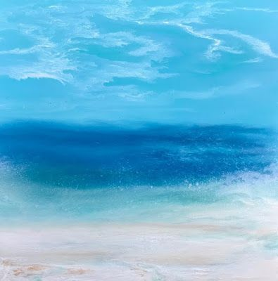 "Contemporary Beach Art, Abstract Seascape Painting, Coastal Art ""Afternoon Splash - Skillern's Seas Series"" by International Contemporary Landscape Artist Kimberly Conrad"