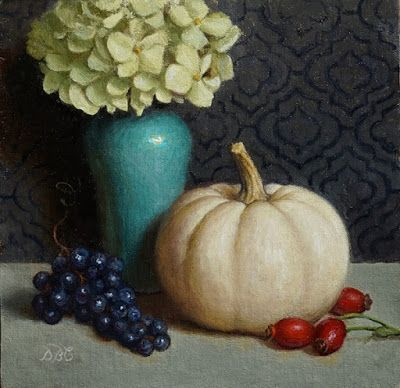 """White Pumpkin, Dry hydrangea, grapes and rose hips"""