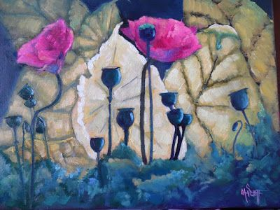 Poppy Painting, Daily Painting, Small Oil Painting, 12x16