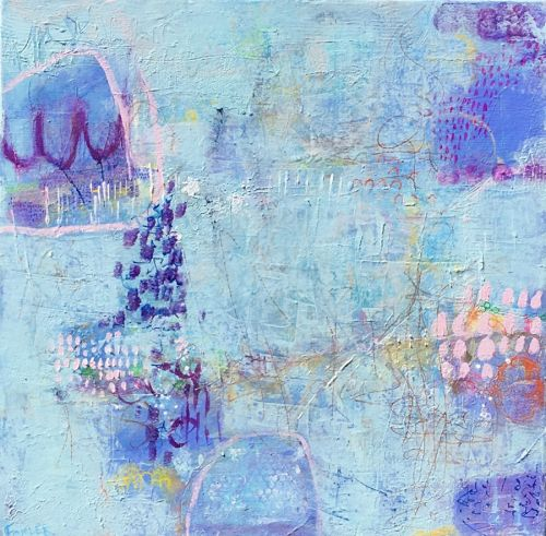 """Contemporary Abstract Expressionist Painting """"TELL ME MORE"""" by Abstract Artist Pamela Fowler Lordi"""