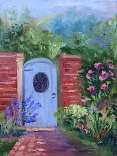 Barbara's Blue Gate, New Contemporary Landscape Painting by Sheri Jones