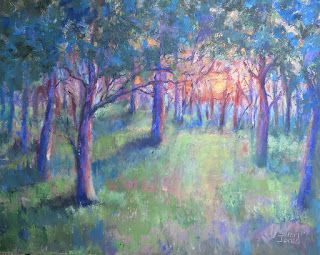 Warm Tree Light, New Contemporary Landscape Painting by Sheri Jones