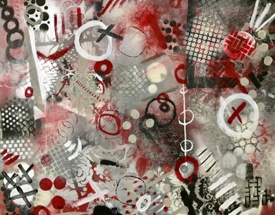 ' russiagate' Original Modern Contemporary Mixed Media Political Abstract Painting Art by Lisa Kreymborg
