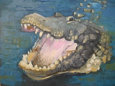 Wildlife Painting, Alligator Painting, Small Oil Painting, Daily Painting, 6x8