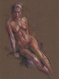 Seated female nude pastel drawing/painting