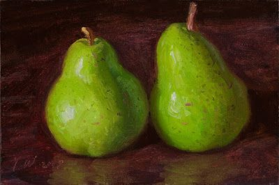 Two pears still life oil painting fruit daily painting a day