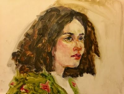 The Model in a Green Flowered Dress - original watercolor portrait painting