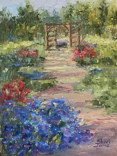 Contemporary Art Impressionism Fall Garden Palette Knife Oil Painting by Sheri Jones