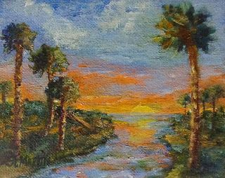 "Impressionism Landscape Seascape Oil Painting ""Slipping Away""by Florida Impressionism Artist Annie St. Martin"