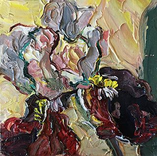 Palette Knife Iris Painting by Niki Gulley