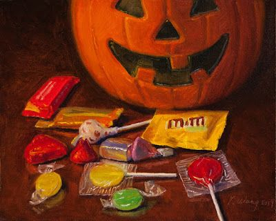 Halloween candy still life oil painting original a painting a day daily painting contemporary realism