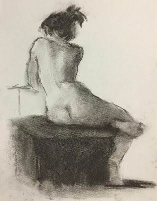 Nude on Grey 3 - original charcoal drawing of a nude model