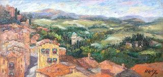 """New """"Valley Overlook"""" Tuscany Palette Knife Oil Painting by Niki Gulley"""