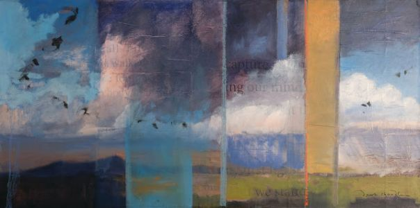Contemporary southwest landscape painting 'walking captures and releases my mind' by artist dawn chandler