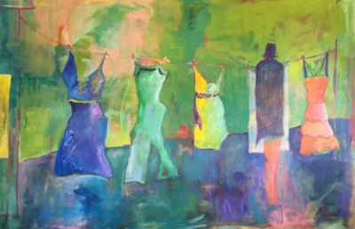 Contemporary Fine Art Painting,Clothes Line 'Just Hanging Out' by Oklahoma Artist Nancy Junkin