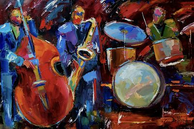"Abstract Jazz Art , Music Art Paintings, Instruments,Drums,""Half the Band"" by Texas Artist Debra Hurd"