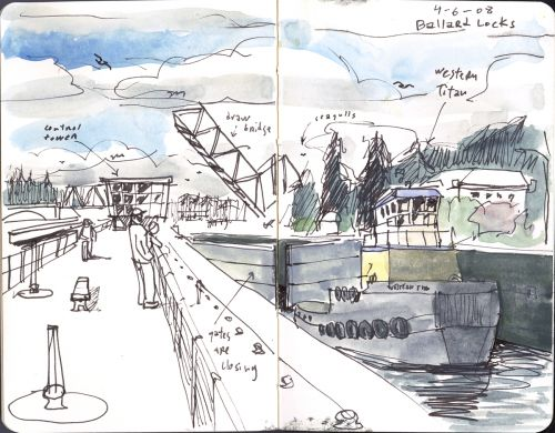 Mini sketchcrawl at the Ballard locks