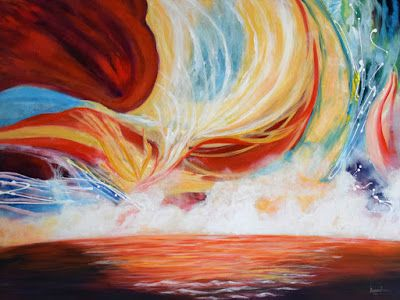 "Contemporary Seascape Painting ""Force of Nature"" by International Contemporary Abstract Artist Arrachme"